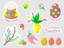 Красивый комплект doodles пасхи в векторе бесплатная иллюстрация