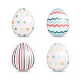 Красивый комплект пасхальных яя с милыми картинами Стоковые Изображения RF