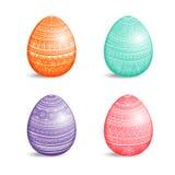 Красивый комплект покрашенных пасхальных яя с орнаментом Стоковое Изображение