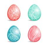 Красивый комплект покрашенных пасхальных яя с орнаментом Стоковые Изображения RF