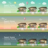 Красивый комплект плоских знамен сети вектора на недвижимости страны темы Стоковые Фото