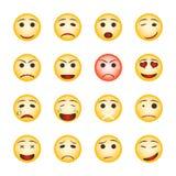 Красивый комплект smiley Собрание значков emoji на белой предпосылке иллюстрация вектора