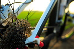 Красивый конец вверх по сцене велосипеда на заходе солнца, Стоковые Фотографии RF