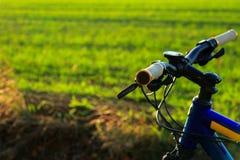 Красивый конец вверх по сцене велосипеда на заходе солнца, Стоковая Фотография