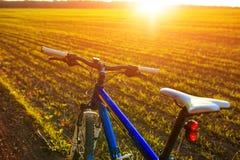 Красивый конец вверх по сцене велосипеда на заходе солнца, Стоковое фото RF