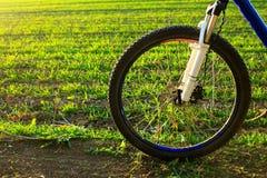 Красивый конец вверх по сцене велосипеда на заходе солнца, Стоковое Изображение