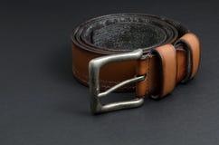 Красивый коричневый кожаный пояс Стоковые Фотографии RF