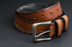 Красивый коричневый кожаный пояс Стоковое Изображение