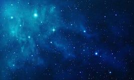Красивый космос с голубым межзвёздным облаком, реалистический вектор - EPS 10 Стоковая Фотография RF