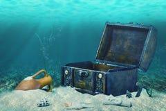 Красивый коллаж закрытого старого деревянного погруженного в воду сундука с сокровищами Стоковая Фотография
