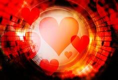 Красивый коллаж с сердцами и примечаниями музыки в космическом космосе, symbolizining влюбленность к музыке Стоковая Фотография