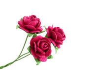 Красивый красный бумажный цветок изолированный на белой предпосылке Стоковая Фотография RF