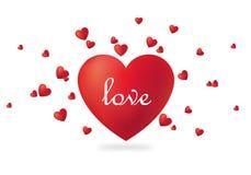 Красивый красный день ` s валентинки сердца с вектором награды текста Стоковые Изображения