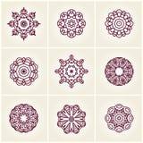 Красивый круговой орнамент 9 мандала Большой комплект красивых этнических орнаментов Стоковые Фото