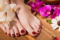 Красивый классический красный pedicure на женской руке Конец-вверх Стоковые Фотографии RF