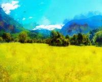 Красивый ландшафт, желтый луг и влияние компьютера крася стоковое фото