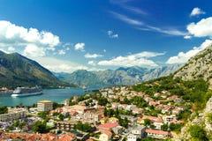 Красивый ландшафт залива Kotor, Черногория Стоковое Фото