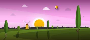 Красивый ландшафт захода солнца вектора с ветрянкой бесплатная иллюстрация