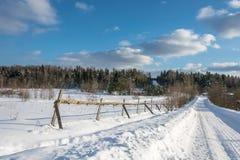 Красивый ландшафт зимы в солнечном морозном дне Стоковые Фотографии RF