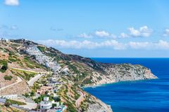 красивый ландшафт лета морского побережья в острове Крита, Греции стоковая фотография rf