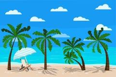 Красивый ландшафт моря с иллюстрацией вектора шезлонга иллюстрация вектора