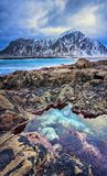 Красивый ландшафт Норвегии живописного ледовитого пляжа в холодном норвежском море Стоковые Изображения RF