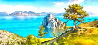 Красивый ландшафт скалистых берегов озера горы бесплатная иллюстрация