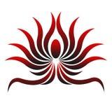 Красивый логотип с цветком Abstrak Красно-черным Стоковая Фотография