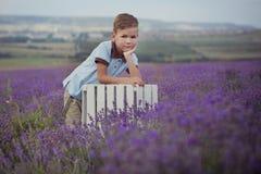 Красивый мальчик при светлые волосы нося голубую футболку и стильные шорты при виселица шкивов представляя на лете field вполне л Стоковая Фотография
