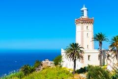 Красивый маяк крышки Spartel близко к городу Tanger и Гибралтару, Марокко стоковая фотография