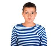 Красивый мальчик подросток изолировал стоковая фотография rf