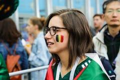 Красивый мексиканский поддерживать девушки футбольной команды соотечественника Бельгии Стоковая Фотография