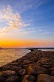 Красивый морокканский заход солнца осени Стоковое фото RF