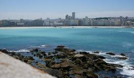 Красивый морской городок, Coruña, Галиция, Испания стоковые изображения