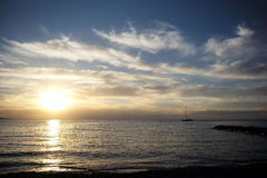 Красивый морской заход солнца Стоковое фото RF