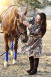 Красивый молодой женский идти и ласкать ее коричневую лошадь в сельской местности стоковые фотографии rf