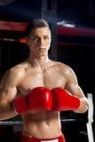 Красивый молодой спортсмен на боксерском ринге Стоковые Изображения