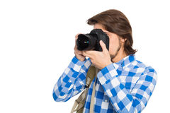 Красивый молодой фотограф с камерой в костюме лета стоковое фото rf