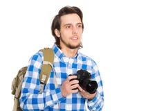 Красивый молодой человек с камерой в костюме лета стоковые фото