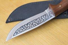 Красивый нож звероловства и случай для ножа. Стоковые Изображения