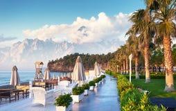 Красивый обваловка для идти и спорта в Amara роскошной гостинице Dolce Vita Alanya Турция Стоковое Изображение RF