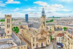 Красивый панорамный взгляд Парижа от крыши пантеона Стоковое Изображение RF