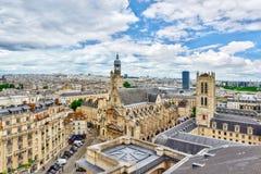 Красивый панорамный взгляд Парижа от крыши пантеона Стоковое Изображение