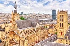 Красивый панорамный взгляд Парижа от крыши пантеона Стоковое фото RF