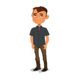 Красивый парень стоя на улице держа руки в карманн Стоковая Фотография