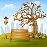 Красивый парк города осени с предпосылкой здания городка иллюстрация вектора