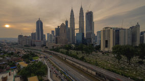 Красивый пейзаж восхода солнца на городе Куалаа-Лумпур Стоковая Фотография RF
