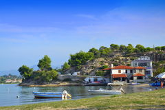 Красивый пейзаж Греция пляжа залива Стоковое Изображение