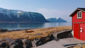 Красивый пейзаж западной береговой линии в Норвегии сток-видео