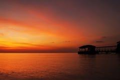 Красивый пейзаж острова Tioman парка коралла во время захода солнца Стоковое Изображение RF
